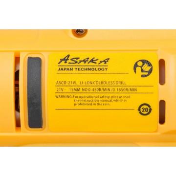 Wkrętarko-wiertarka akumulatorowa 21V ASCD-21VL - funkcja udaru + podświetlenie LED