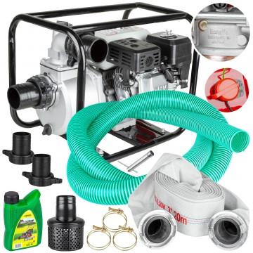 ZESTAW: Motopompa spalinowa 7,0 HP do wody WP-30 + 2 węże + 600ml oleju